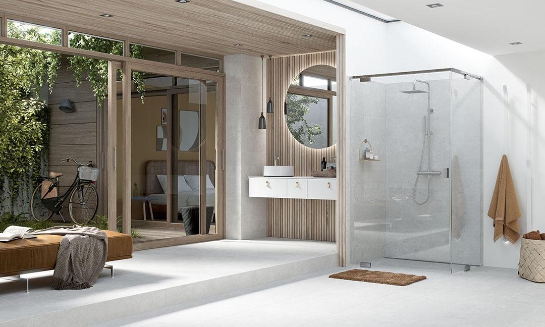 INR badrumsmöbler och duschväggar i naturinspirerat badrum